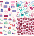 set seamless background fashion bags and vector image vector image