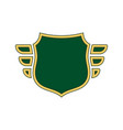 shield green icon gold outline shape vector image