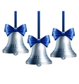 Silver bells with blue ribbon vector image vector image
