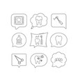 stomatology tooth and dental crown icons vector image vector image