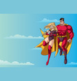 super mom dad and baby in sky vector image vector image