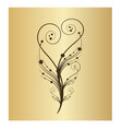 swirly floral vine branch icon vector image vector image
