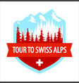 tour to swiss alps - coat arms blazon vector image vector image