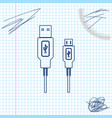 usb micro cables line sketch icon isolated on vector image vector image