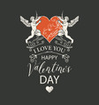 valentine card with angels and heart vector image vector image