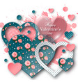 valentines day background with cut paper heart vector image vector image