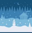 with layers forest house snowman vector image vector image