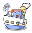 with megaphone ship character cartoon style vector image