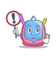 with sign school bag character cartoon vector image