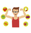 young man showing his muscles against healthy food vector image vector image