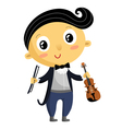 Kid musician cartoon character isolated on white vector image