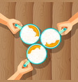 three beer mugs with human hands isolated on vector image