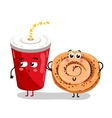 Funny take away glass and cookie cartoon character vector image