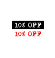 10 off rubber stamp badge with typewriter set vector image