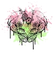 Abstract black and white watercolor heart vector image vector image