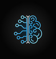 ai brain simple blue outline icon on dark vector image vector image