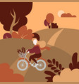 autumn public park landscape girl with bicycle vector image vector image