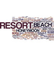 best honeymoon resorts text background word cloud vector image vector image