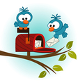 birds and mailbox with mail vector image vector image
