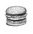 Black and white hand drawn sketchy sandwich vector image vector image
