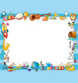 border template with many school objects vector image