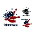 Bowling icons and symbols vector image vector image