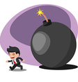 Business Man Worker Run away Bomb vector image