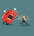 businessman running away from tax vector image vector image
