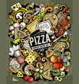 cartoon doodles pizza vector image vector image