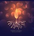 creative diwali diya with bokeh effect vector image