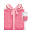 cup champagne with gift box isolated icon vector image vector image