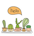 cute cactus with happy face say hello vector image