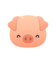cute pink pig in cartoon style on white background vector image