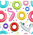 donuts pattern inflatable swimming rings rubber vector image vector image