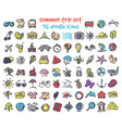 doodle summer trip icons set vector image vector image
