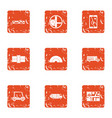 escort car icons set grunge style vector image