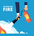 extinguish fire fireman with fire extinguisher vector image vector image