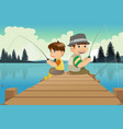 father and son going fishing in a lake vector image