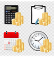 Finance icons isolated on transparent background