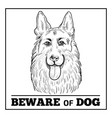 german shepherd portrait with beware sign vector image