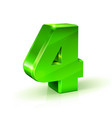 glossy green four 4 number 3d on vector image vector image