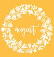 hand drawn august sign with wreath on yellow vector image vector image