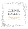 hand drawn corner flourish text graphic design vector image