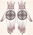hands with henna tattoos vector image vector image