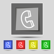 handset icon sign on original five colored buttons vector image vector image