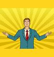 happy businessman pop art vector image vector image
