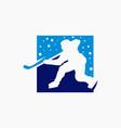 ice hockey game sports logo vector image