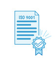 iso 9001 certificate vector image vector image