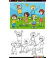 kids and teens characters group color book page vector image vector image