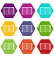 open spiral lined notebook icon set color vector image vector image